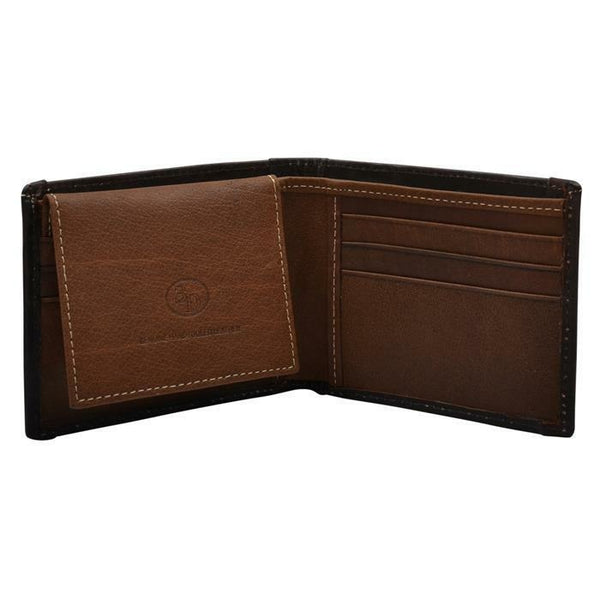 3D Western Mens Wallet Bifold Leather Distressed American Flag Inlay Brown - Wallets & Watches