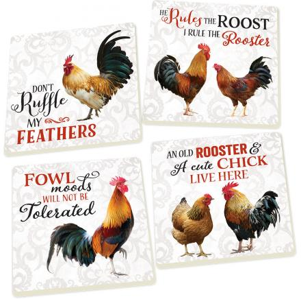 Rooster & Chicken Ceramic Coaster 4 Pack