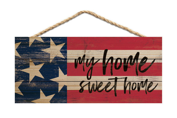 My Home Sweet Home American Flag Wood Wall Hanging Plaque Sign
