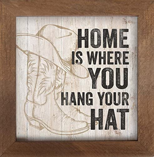 Home Is Where You Hang Your Hat Cowboy Boots Wall Art Plaque