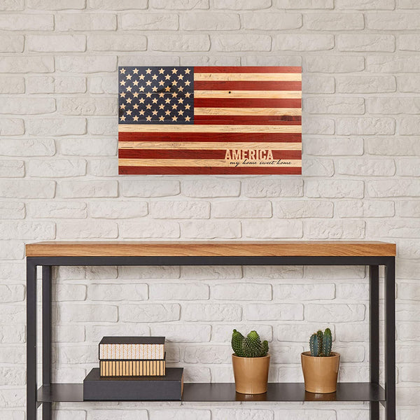 America My Home Sweet American Flag Patriotic Wood Pallet Wall Art Sign Plaque
