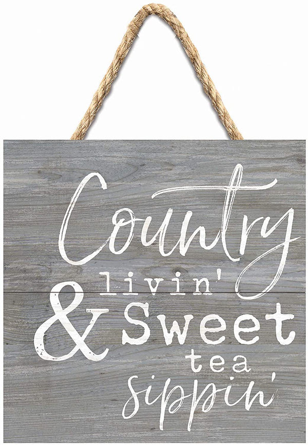 Country Livin' Sweet Tea Sippin' Grey Wood Pallet Wall Hanging Sign