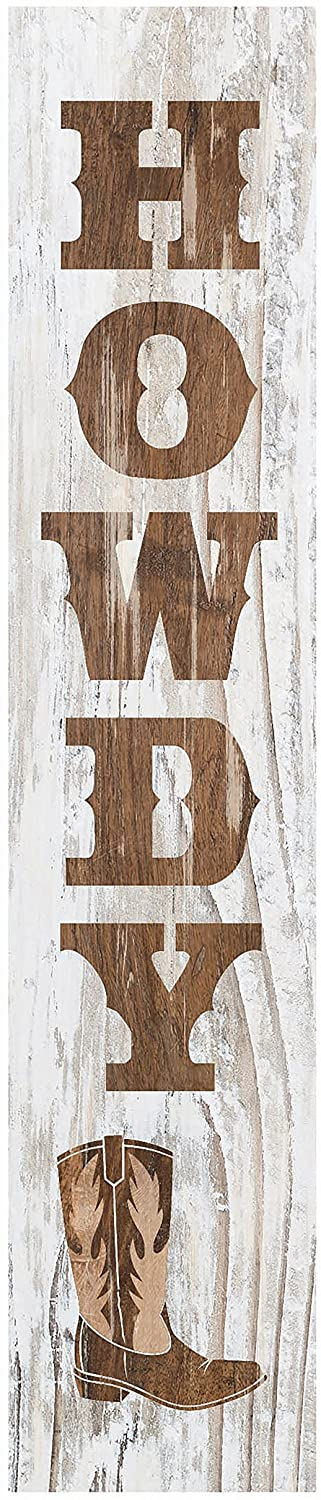 Howdy Cowboy Boot Whitewash Pine Wood Vertical Tabletop Block Sign