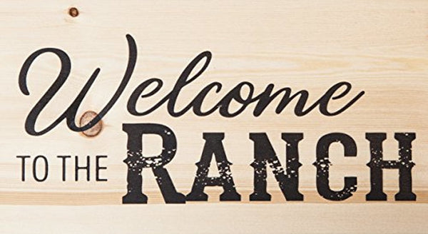 Welcome to the Ranch Natural Solid Wood Plank Wall Plaque Sign