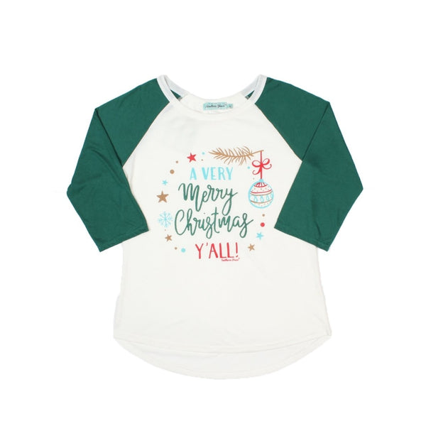 A Very Merry Christmas Yall Raglan With Forest Green Sleeves - Womens Tops