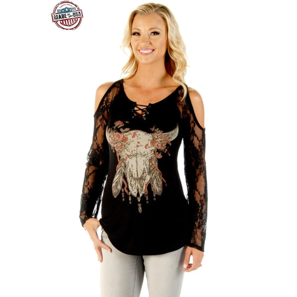 Adorned With Nature In Black - Womens Tops