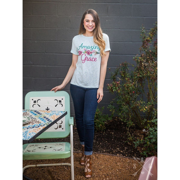 Amazing Grace On Mint Cuffed Tee - Womens Tops