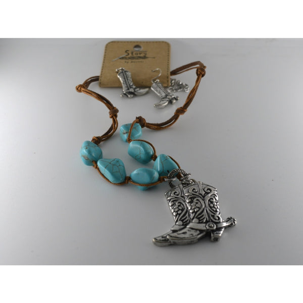 Antique Effect Silver Cowboy Boots Necklace With Matching Earrings - Jewellery