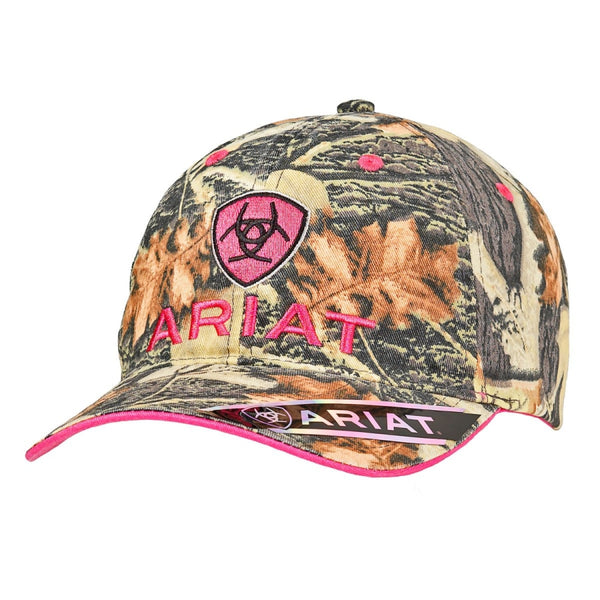 Ariat Ladies Mossy Oak Pink Shield Logo Baseball Cap Style - Womens Hats