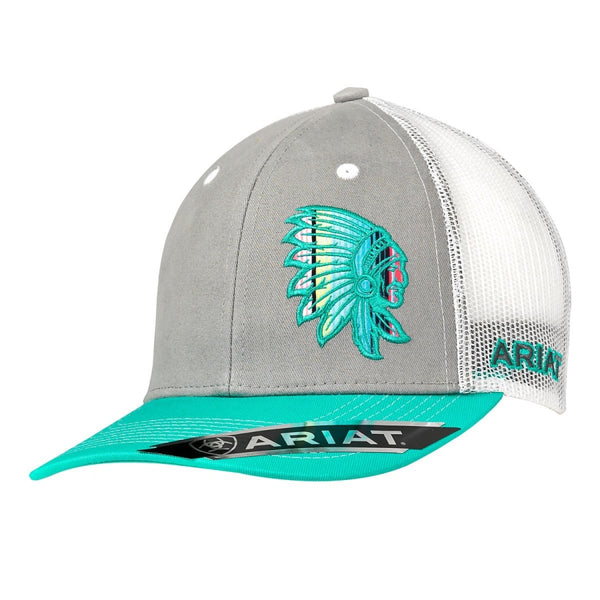 Ariat® Ladies Turquoise & Grey Chief Patch Snapback Cap - Womens Hats