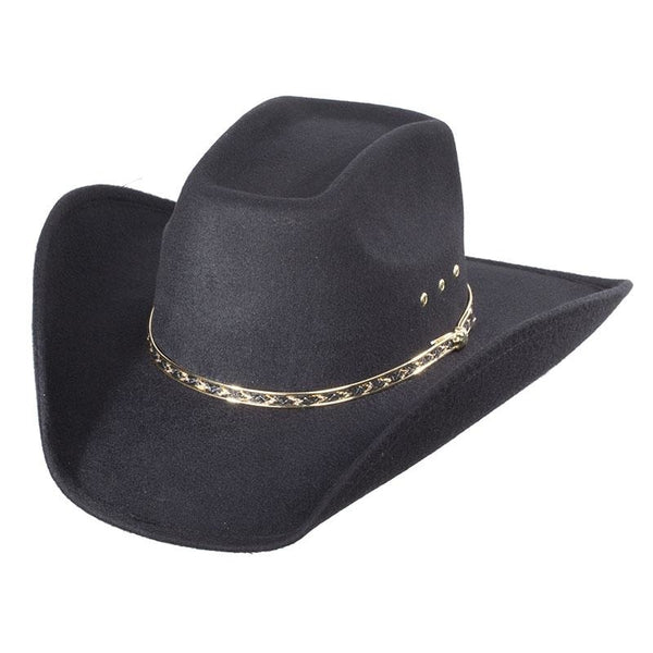 Black Faux Felt 8 Second Adult Cowboy Hat - Accessories