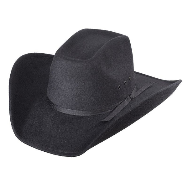 Black Faux Felt 8 Second Cowboy Hat - Accessories