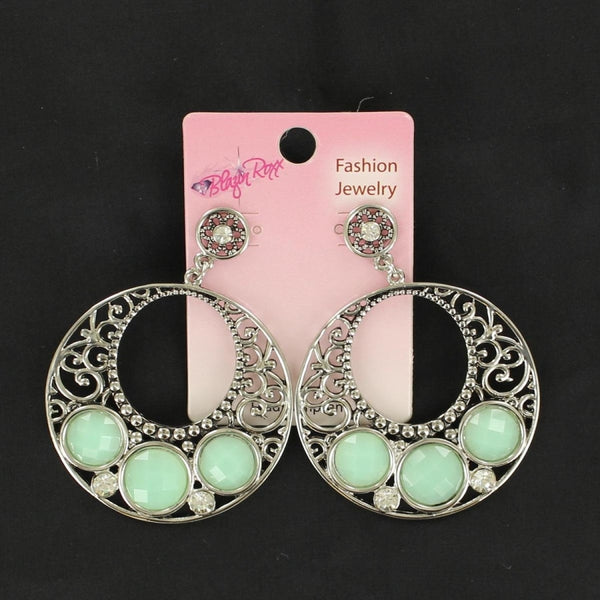 Blazin Roxx Disc Earrings With Mint Coloured Stones - Accessories