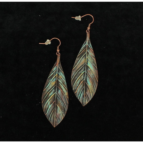 Blazin Roxx Feather Patina Earrings - Accessories