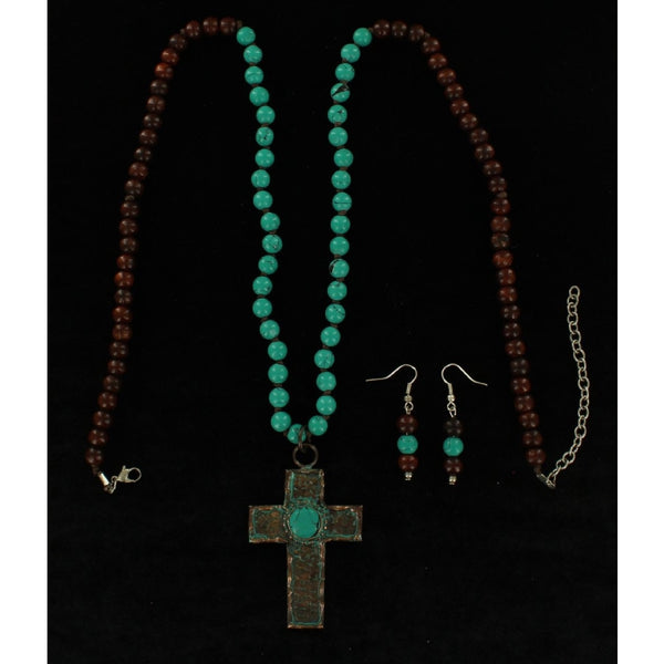 Blazin Roxx Ladies Jewellery Necklace Set Beaded Patina Cross Brown Turquoise - Accessories