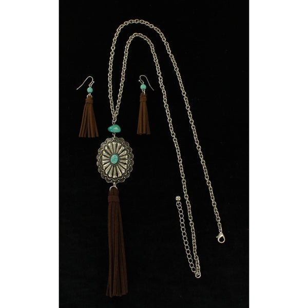Blazin Roxx Ladies Western Turquoise Oval Disc Stone With Suede Effect Tassel - Accessories