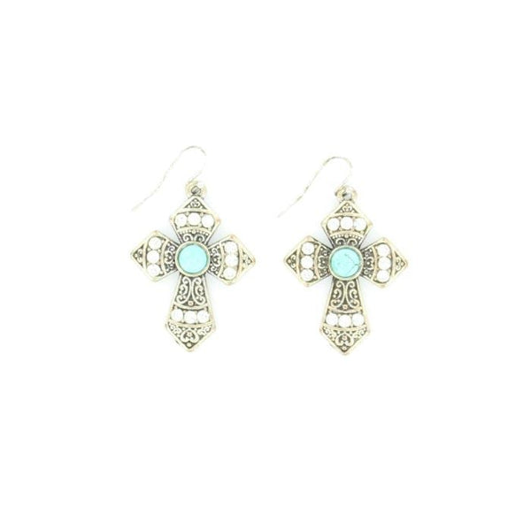 Blazin Roxx Silver And Turquoise Cross Earrings - Accessories