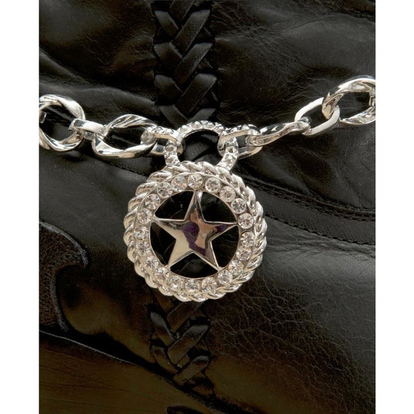 Blazin Roxx Silver Chain With Crystal Star Charm Boot Bracelet - Boot Accessories