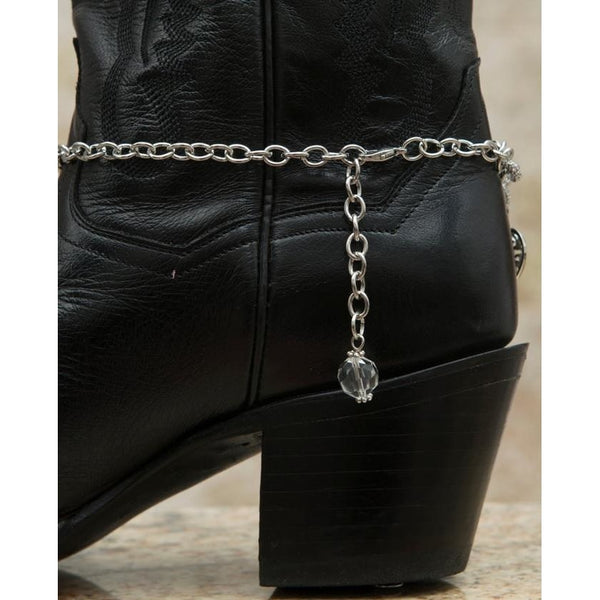 Blazin Roxx Silver Double Chain With Heart Charms Boot Bracelet - Boot Accessories