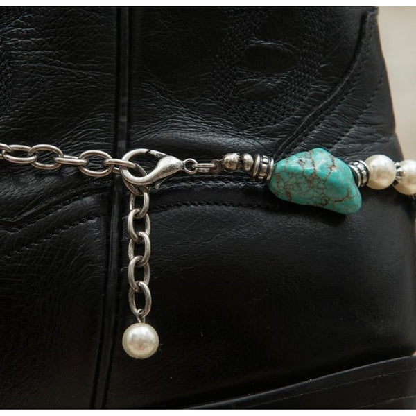 Blazin Roxx Silver Horseshoe & Winged Star Charm With Turquoise Stones & Pearl Beads Boot Bracelet - Boot Accessories