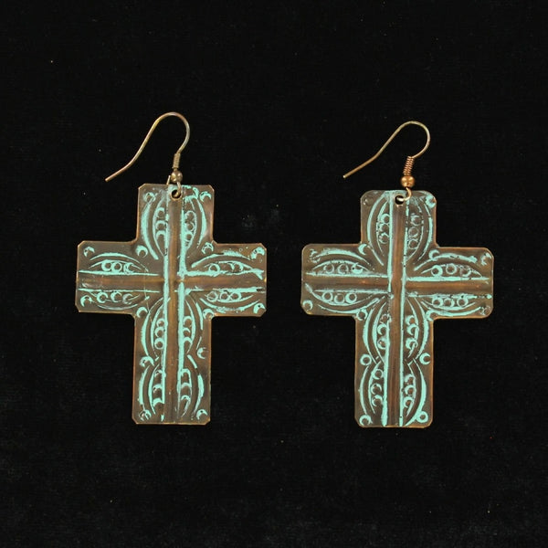 Blazin Roxx Turquoise Large Cross Earrings - Accessories