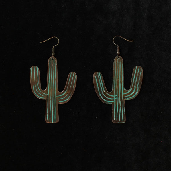 Blazin Roxx Turquoise Patina Large Cactus Earrings - Accessories