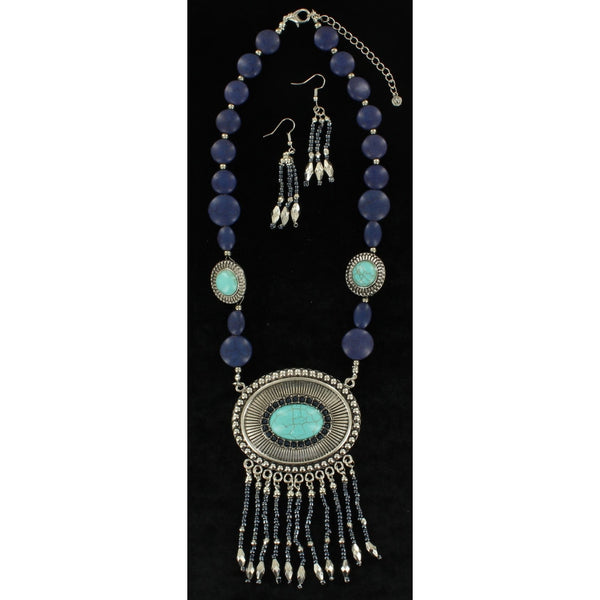 Blazin Roxx Womens Jewellery Necklace Earrings Oval Fringe Silver - Accessories