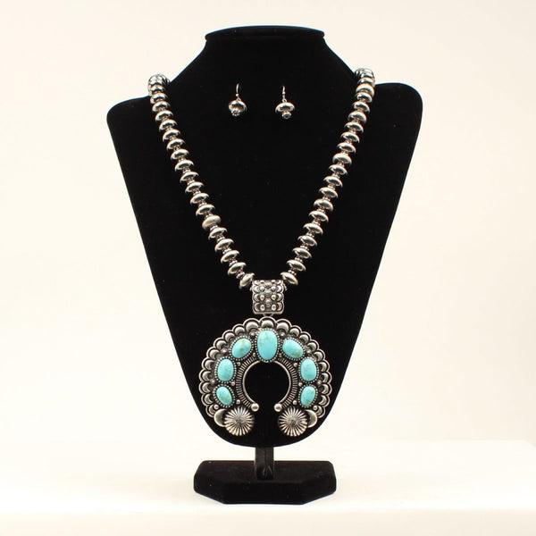 Blazin Roxx Womens Necklace Set Large Squash Blossom Pearl Silver Turquoise - Accessories