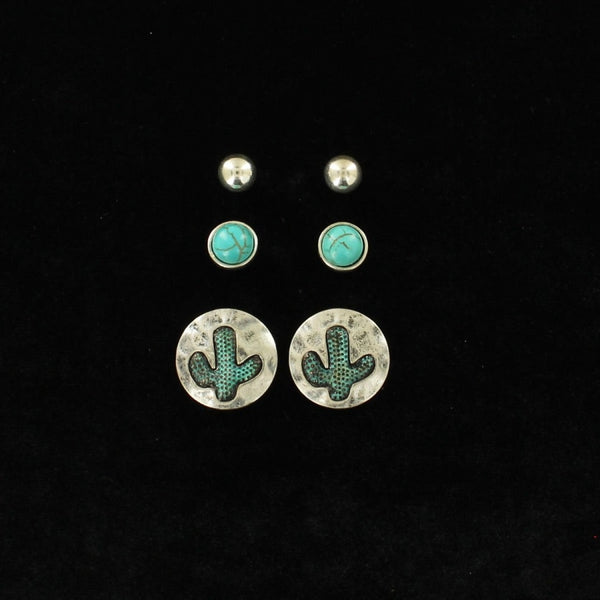 Blazin Roxx Womens Silver And Turquoise Stud And Cactus Earring Set - Accessories