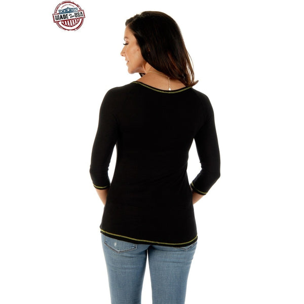 Blushing Cactus Long Sleeve Top In Black - Womens Tops