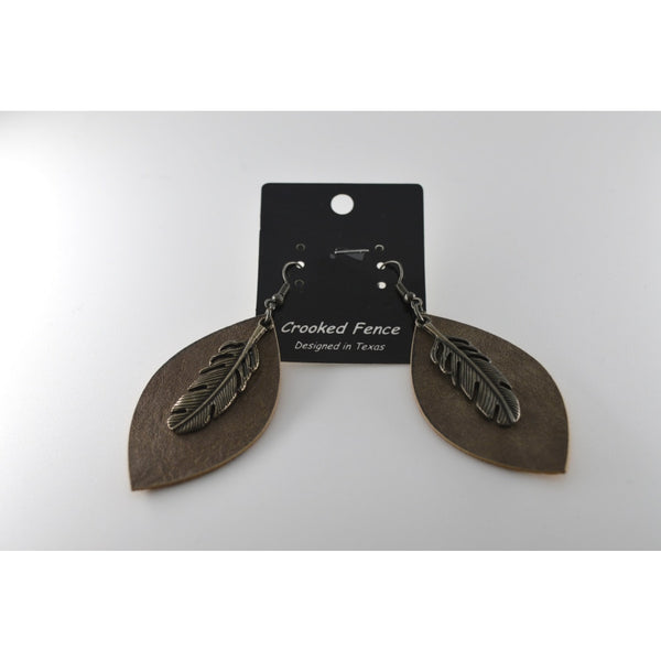 Brass Leaf Shape Leather Texture Earring With Silver Feather On Top - Jewellery