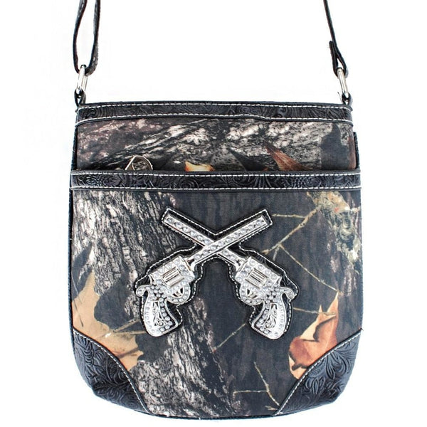 Camouflage Double Gun Crossbody Bag-Black - Bags & Purses
