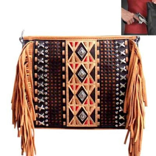 Concealed Carry Aztec Fringe Crossbody Bag - Bags