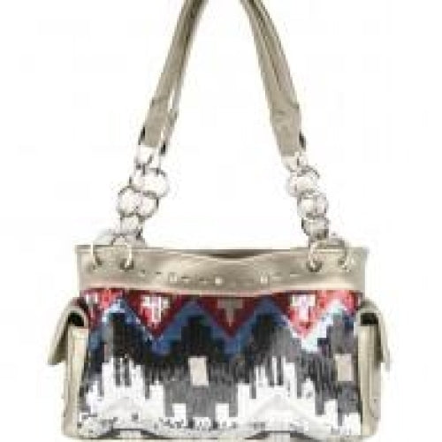 Concealed Carry Sequine Western Handbag - Silver - Bags & Purses