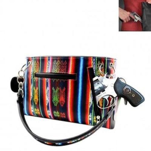 Concealed Carry Western Aztec Concho Shoulder Bag - Bags