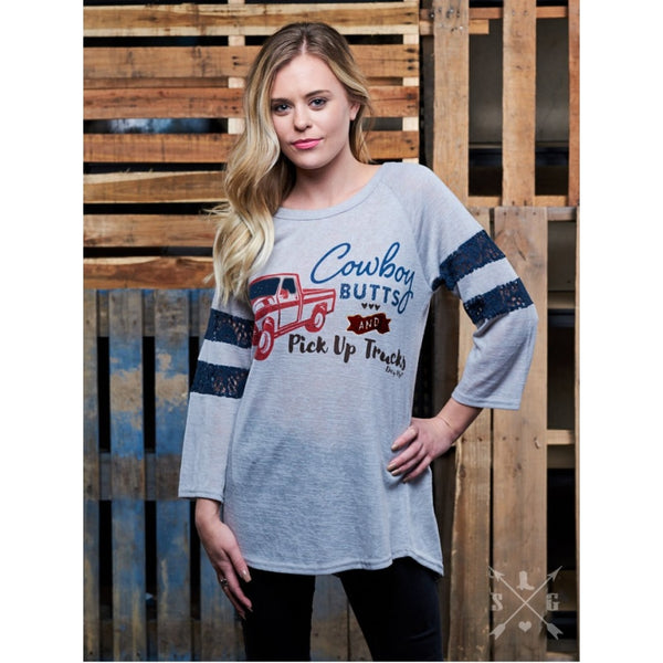 Cowboy Butts & Pick Up Trucks On Grey With Navy Lace Accent Sleeves - Womens Tops