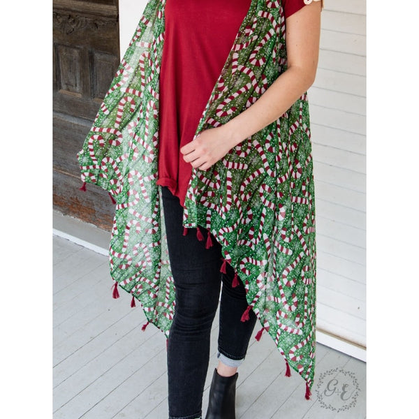 Crazy Candy Cane Cover Up With Red Tassels - Womens Tops