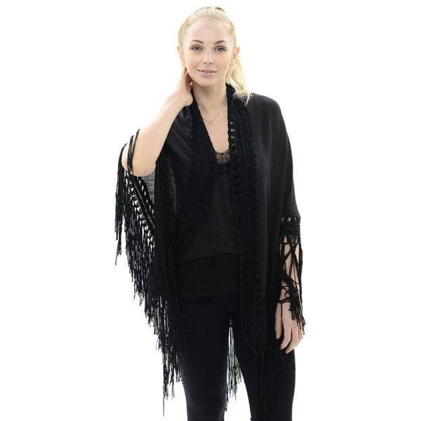 Crochet Kimono With Lace Trim And Fringe - Scarves & Bandanas