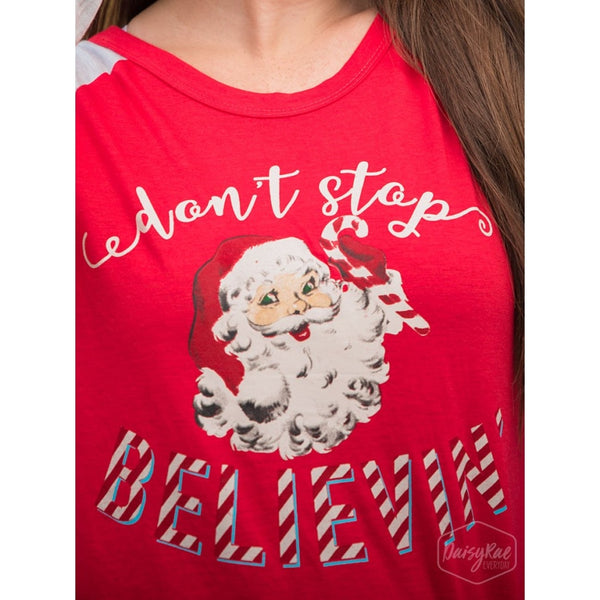 Dont Stop Believin Jolly Santa On Red & Grey Varsity Style Longsleeve - Womens Tops