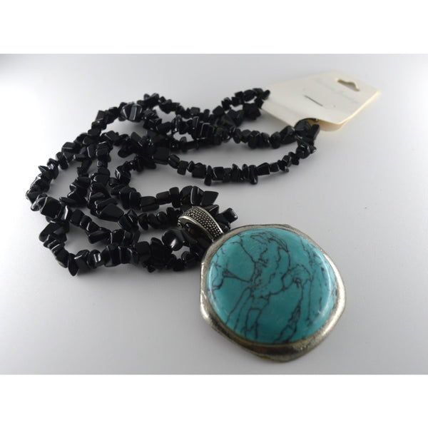 Double Chips Strings With Turquoise Stone Pendant - Jewellery