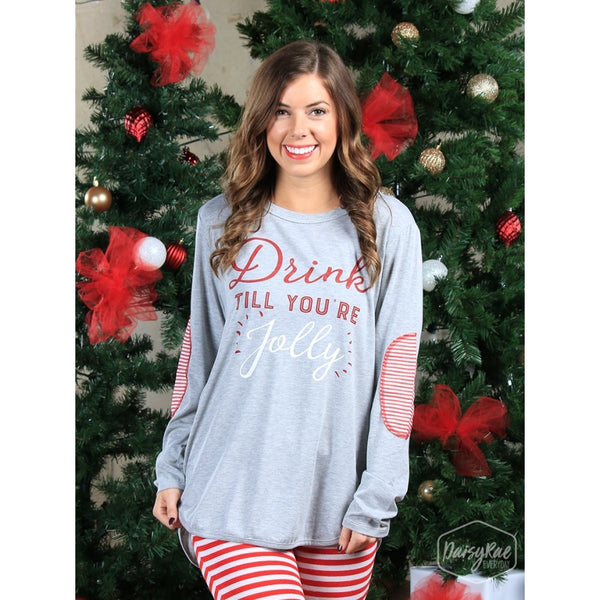 Drink Till Youre Jolly Long Sleeve Tee With Striped Elbow Patches - Womens Tops