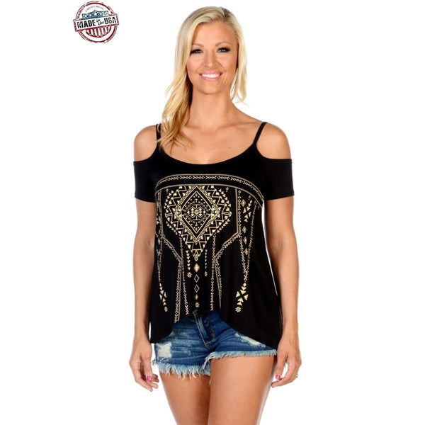 Embroidered Boho Chic Top - Medium - Womens Tops
