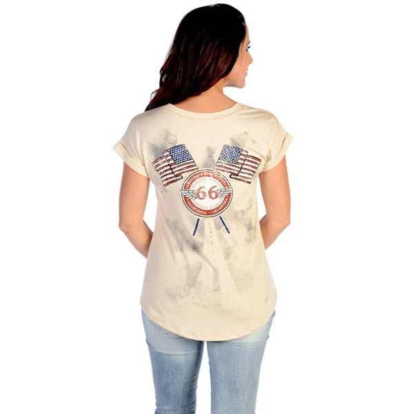 Flying Route 66 Cream Top - Womens Tops