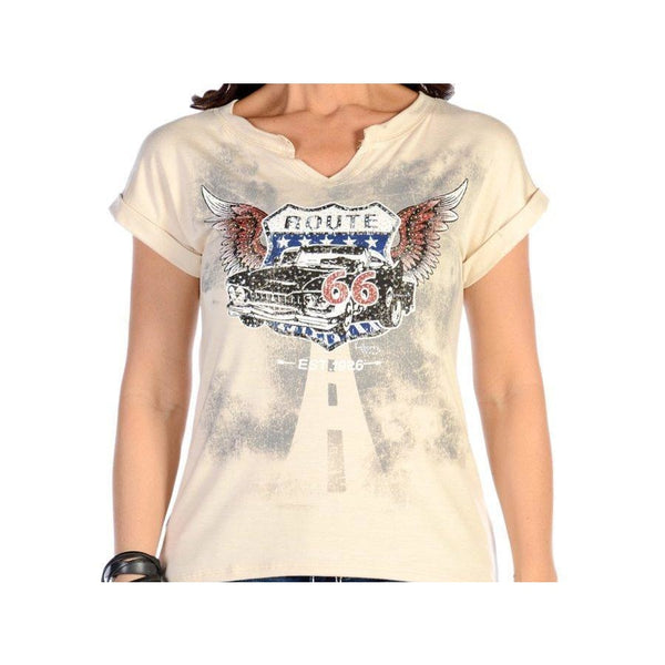 Flying Route 66 Cream Top - Medium - Womens Tops