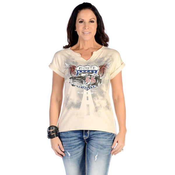 Flying Route 66 Cream Top - Small - Womens Tops
