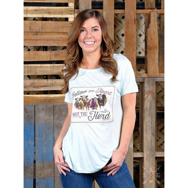 Follow Your Heart Not The Herd On Mint Short Sleeve Tee - Womens Tops