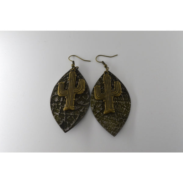 Forrest Green With Silver Leaf Shape Leather-Rippled Texture Earring With Brass Cactus - Jewellery