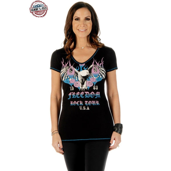 Freedom Rock Tour Country T-Shirt - Small - Womens Tops