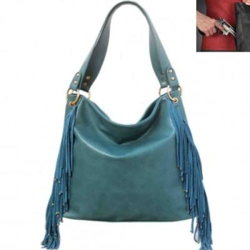 Genuine Leather Fringe Concealed Carry Hobo Bag - Bags