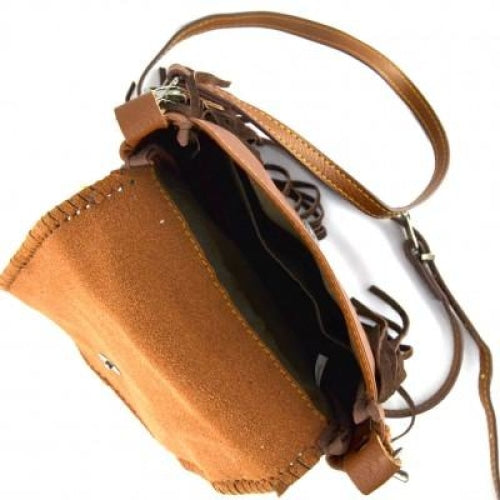 Genuine Leather Horse Head Tooling Crossbody Bag - Bags
